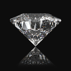 Diamond on the black background with reflection 3D render.