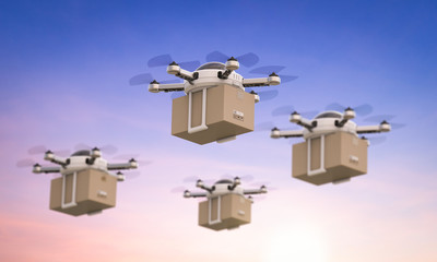 Wall Mural - delivery drones flying