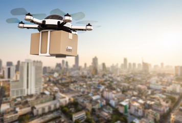 delivery drone flying Wall mural