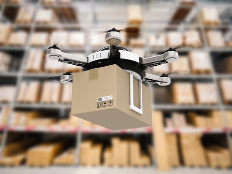 delivery drone in warehouse