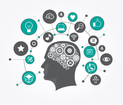 Silhouette of a man's head with gears in the shape of a brain surrounded by icons