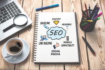 Search Engine Optimization (SEO) Concept On Work Desk
