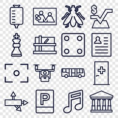 Set of 16 square outline icons