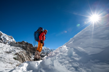 Trekkers crossing Cho La pass in Everest region, Nepal