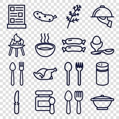 Set of 16 cooking outline icons