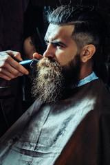 Bearded man getting long beard haircut with clipper