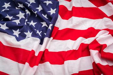 Closeup of American flag .