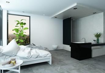 Stylish modern studio bedroom with washroom