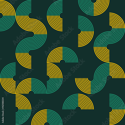 Retro Vintage Chic Funky Stripes Geometry Semicircle In