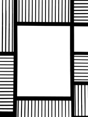 Empty Square Black Metal Frame with Abstract Line Square Pattern and Copyspace in The Middle used as Template for Mock up or input Photo and Text