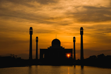 Beautiful mosque in sunset