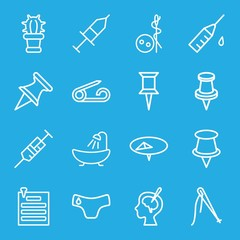 Set of 16 needle outline icons