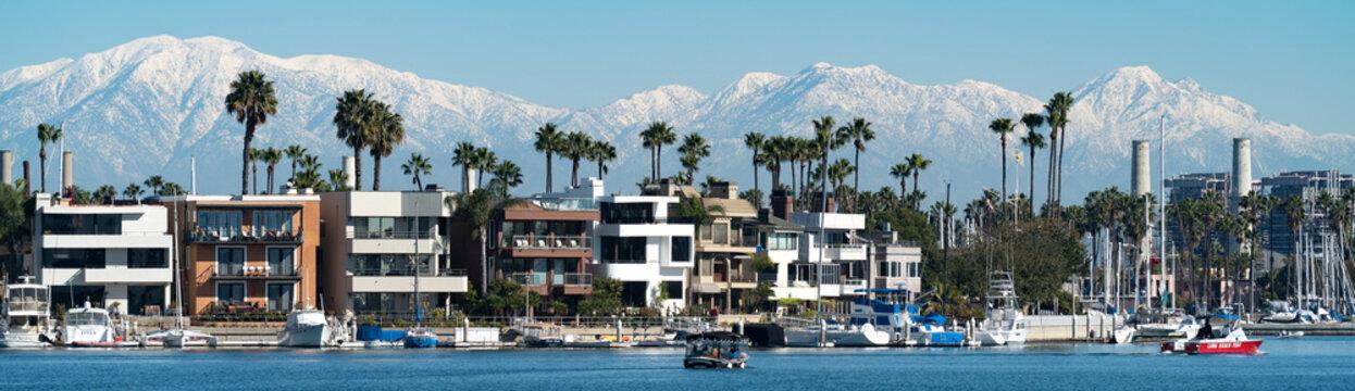 Southern California, Mountains, Winter, Bay, Landscape, Palms