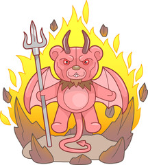 Demon teddy bear with a trident in his hand