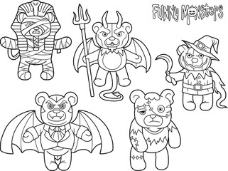 Cartoon teddy bears monsters set of drawings
