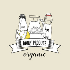 Healthy organic dairy products. Vector illustration.