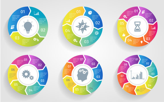 Vector circle arrows for infographic. Template for cycling diagram, graph, presentation and round chart. Business concept with 3 4 5 6 7 8 options, parts, steps or processes.