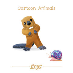 Toons series cartoon animals: beaver and snail