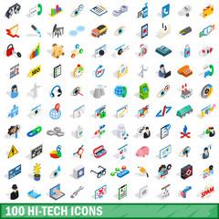 100 hi-tech icons set, isometric 3d style