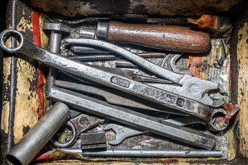 a set of tools and machine parts