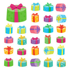 Big presents collection. Vector illustration of cartoon cute collection
