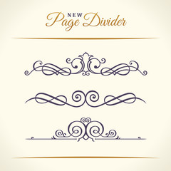 New Calligraphic Page Dividers and Elements of vintage ornaments