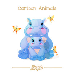 Toons series cartoon animals: african hippos family