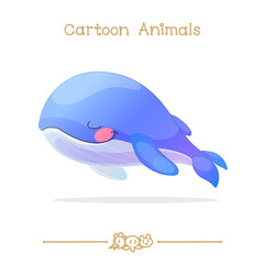 Toons series cartoon animals: sleeping blue whale