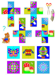 Template with exercise for children. Using scissors and glue need to make four cubes, then put together the pictures of them. Developing skills for cutting and handwork. Vector image.