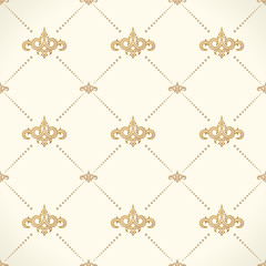 Vector seamless pattern. Modern stylish texture design in Victorian style. Ornamental baroque background. Ornate floral decor for wallpaper