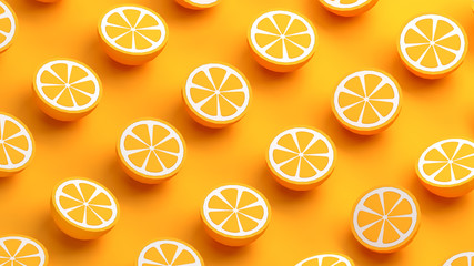 Collection of orange fruits 3d illustration