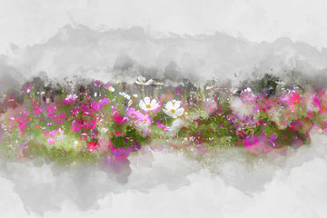 Abstract Pink flower on watercolor painting background.