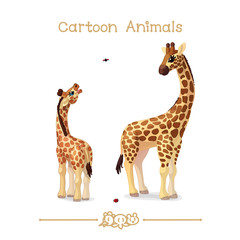 Toons series cartoon animals: giraffes family portrait father & baby