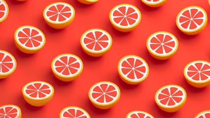 Grapefruit collection polygonal design 3d illustration