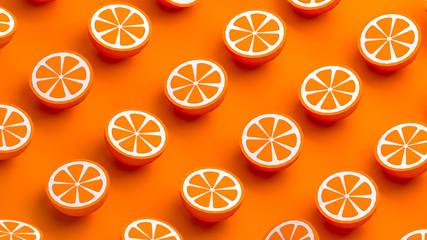Collection of mandarin fruits 3d illustration