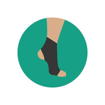 Neoprene brace on the ankle