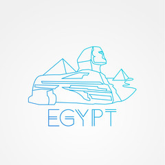 Linear Pyramid and Sphinx The symbols of Cairo. Welcome to Egypt concept.