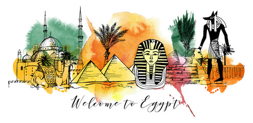 Vector background of Egypt.