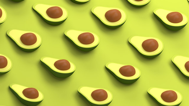 Avocado collection on a green background 3d rendering