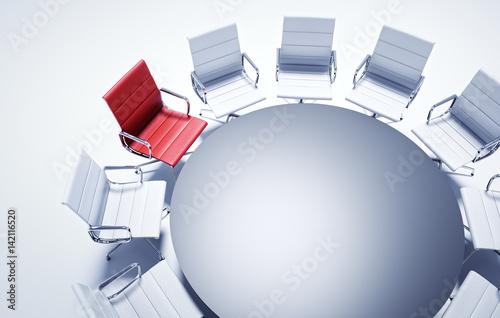roter stuhl am runden tisch stockfotos und lizenzfreie. Black Bedroom Furniture Sets. Home Design Ideas