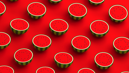 Watermelon collection on a red background. 3D illustration