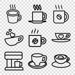 Set of 9 cappuccino outline icons
