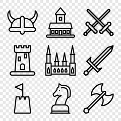 Set of 9 knight outline icons