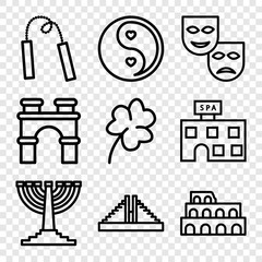 Set of 9 culture outline icons