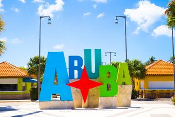 Aruba tourism colorful welcome sign
