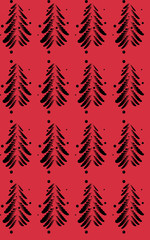 Black abstract firs on a color background. Vector illustration