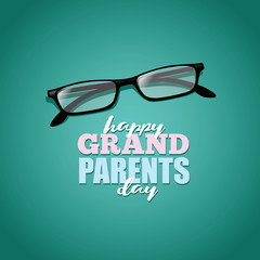 Happy Grandparents day reading glasses and sweater greeting card design. EPS 10 vector.