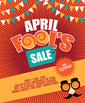 April Fools Day Sale bunting and burst marketing template with copy space. EPS 10 vector.