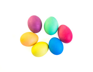 Group of easter eggs isolated on white background