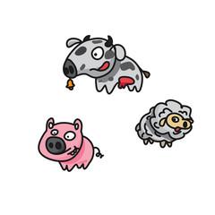 Farm Animals (Pig, Cow & Sheep)